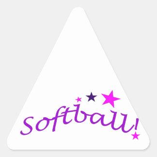 Softball arqueado con las estrellas pegatina triangular