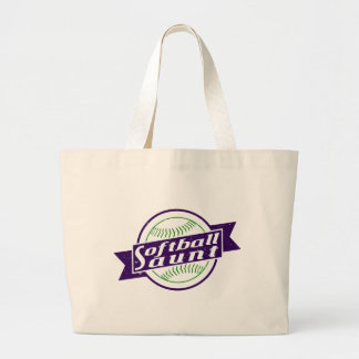 Softball Aunt Large Tote Bag