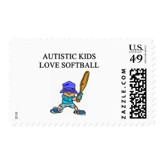 softball autístico del amor de los niños sellos