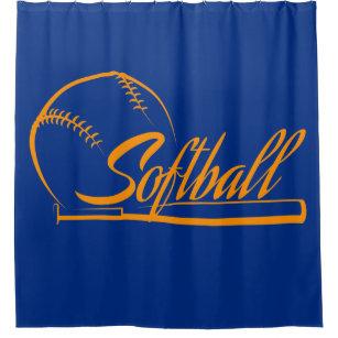 Softball Ball Bat Banner Shower Curtain