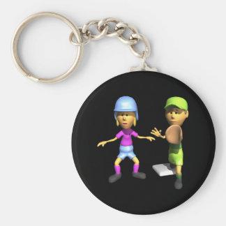 Softball Base Runner Keychain