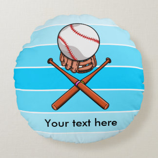 Softball / Baseball Jolly Roger Like Illustration Round Pillow
