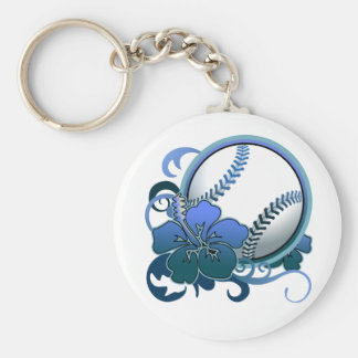 Softball / Baseball Tropical Flower Blue Keychain