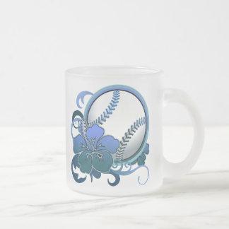Softball / Baseball Tropical Flower Blue Mug