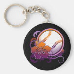 Softball Baseball Tropical Flower Purple Keychain