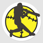 softball batter classic round sticker