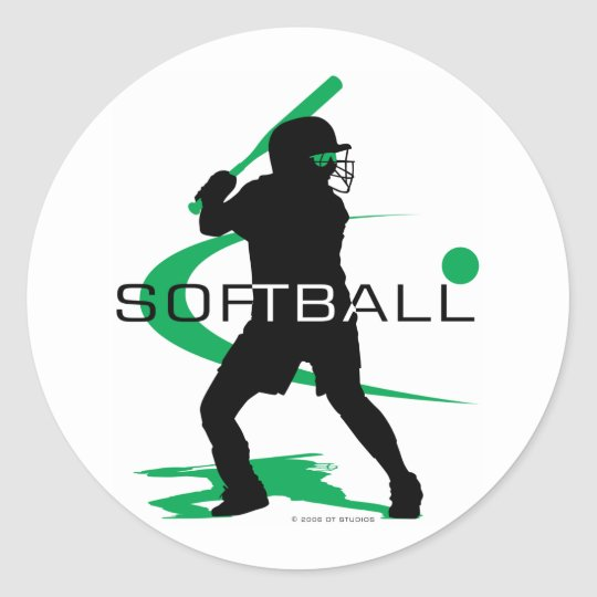 Softball - Batter Classic Round Sticker