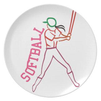 Softball Batter Dinner Plate