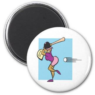 Softball Batter 2 Inch Round Magnet