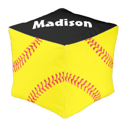 Softball Beanbag Chair Customizable Square Pouf