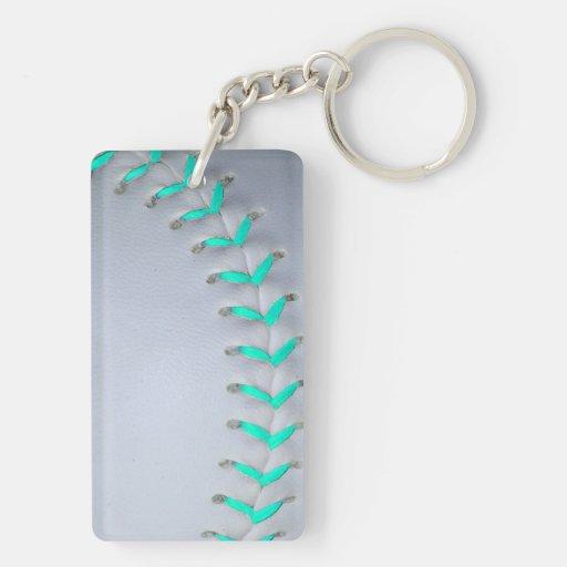 Softball/béisbol azules claros llaveros