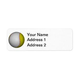 Softball/béisbol blancos y amarillos etiquetas de remite