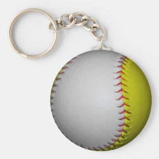 Softball/béisbol blancos y amarillos llavero redondo tipo pin