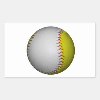Softball/béisbol blancos y amarillos pegatina rectangular