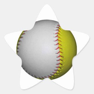 Softball/béisbol blancos y amarillos pegatina en forma de estrella