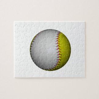 Softball/béisbol blancos y amarillos puzzles con fotos