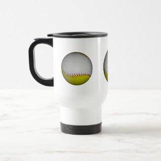 Softball/béisbol blancos y amarillos taza de viaje de acero inoxidable