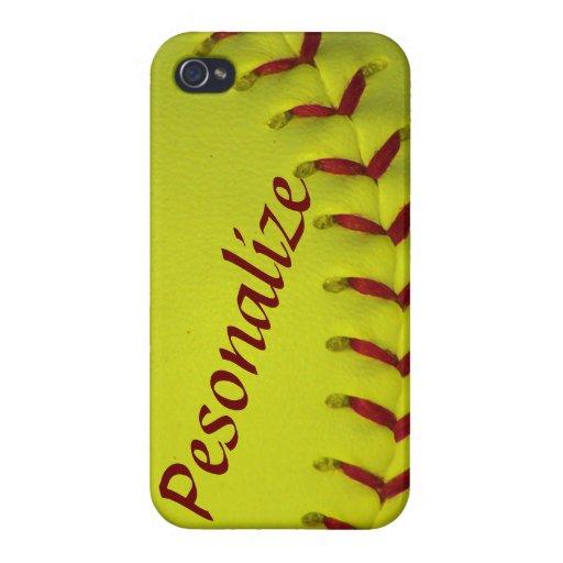 Softball/béisbol personalizados amarillo de Dayglo iPhone 4 Coberturas