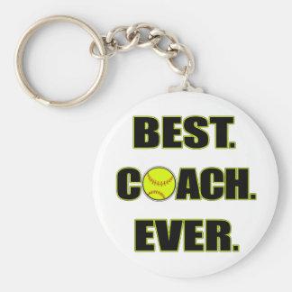 Softball Best Coach Ever Basic Round Button Keychain