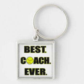 Softball Best Coach Ever Silver-Colored Square Keychain