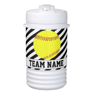 Softball Black & White Striped Player & Team Name Cooler