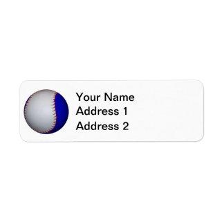 Softball blanco y azul del béisbol etiqueta de remite