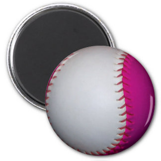 Softball blanco y rosado imán de nevera