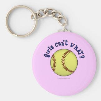 Softball-Blue Basic Round Button Keychain