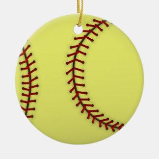 Softball-Blue Double-Sided Ceramic Round Christmas Ornament