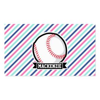 Softball; Blue, Pink, & White Stripes, Sports Business Card