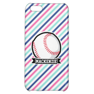 Softball; Blue, Pink, & White Stripes, Sports iPhone 5C Cases