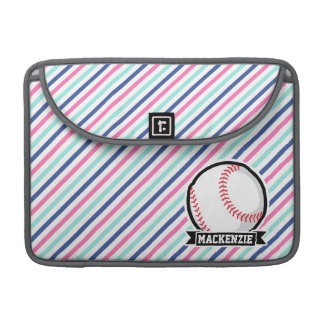 Softball; Blue, Pink, & White Stripes, Sports MacBook Pro Sleeves