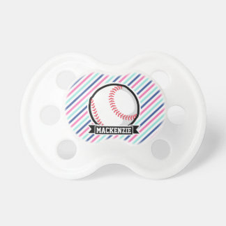 Softball; Blue, Pink, & White Stripes, Sports BooginHead Pacifier
