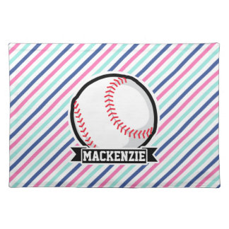 Softball; Blue, Pink, & White Stripes, Sports Cloth Place Mat