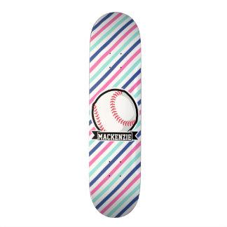 Softball; Blue, Pink, & White Stripes, Sports Skateboard