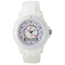 Softball; Blue, Pink, & White Stripes, Sports Wristwatch