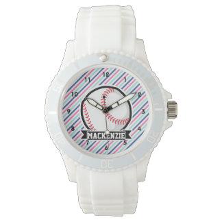 Softball; Blue, Pink, & White Stripes, Sports Wristwatch