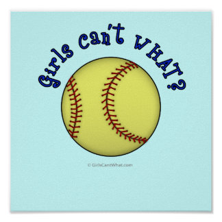 Softball-Blue Poster