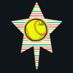 "Softball; Bright Rainbow Stripes Cake Topper<br><div class=""desc"">Cool,  cute yellow softball design on  colorful red,  orange,  yellow,  green,  blue,  white rainbow stripes  pattern.  Great gift for softball players or sports fans!</div>"