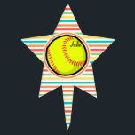 """Softball; Bright Rainbow Stripes Cake Topper<br><div class=""""desc"""">Cool,  cute yellow softball design on  colorful red,  orange,  yellow,  green,  blue,  white rainbow stripes  pattern.  Great gift for softball players or sports fans!</div>"""