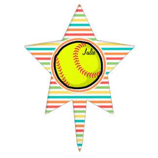 Softball; Bright Rainbow Stripes Cake Topper