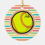 Softball; Bright Rainbow Stripes Double-Sided Ceramic Round Christmas Ornament