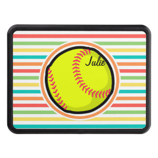 Softball; Bright Rainbow Stripes Hitch Cover