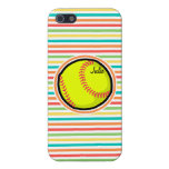 Softball; Bright Rainbow Stripes Covers For iPhone 5