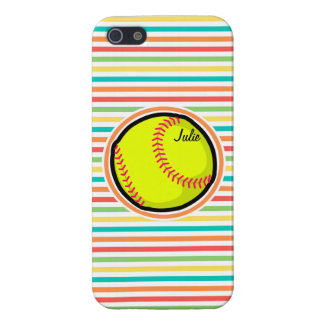 Softball; Bright Rainbow Stripes iPhone 5 Covers