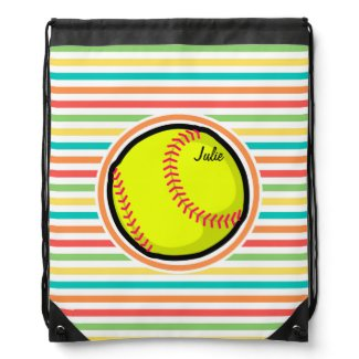 Softball; Bright Rainbow Stripes Drawstring Backpack