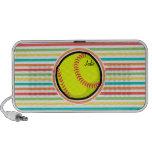 Softball; Bright Rainbow Stripes Portable Speaker