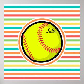 Softball; Bright Rainbow Stripes Poster