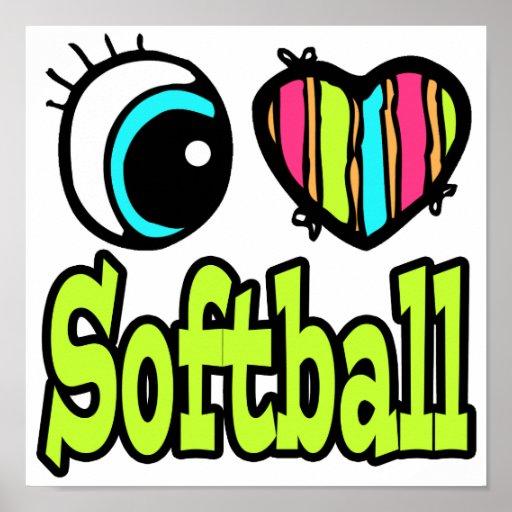 Softball brillante del amor del corazón I del ojo Poster