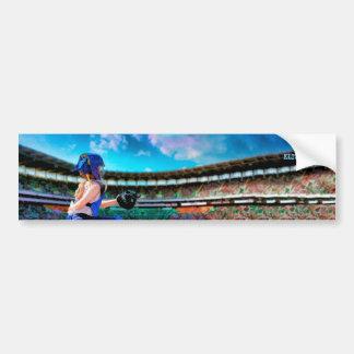Softball Catcher And Stadium Painting Bumper Sticker